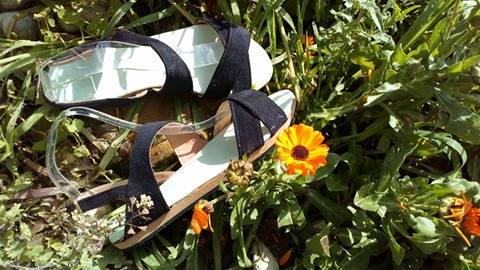 sandale tissus velours noir